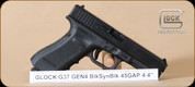 "Glock - 45GAP - G37 - G4, BlkSyn, Fixed Sights, 4.4"", Hard Case, 3 Mags, Interchangeable Back Straps, Cable Lock - Mfg# PG3750201"