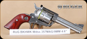"""Ruger - 357Mag/9mm - Blackhawk Convertible - Revolver - Rosewood Grips/Stainless, 4.62""""Barrel, c/w Extra 9mm Cylinder, Mfg# 5245"""