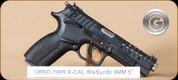 "Grand Power - X-Calibur - 9mm - BlkSyn/Bl, DA/SA operation, rotary barrel, 2 mags, 4 backstraps, 5"" - UPC 8588005808088"
