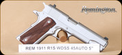 "Remington - 45 ACP - Model 1911 R1S - Semi-Auto Pistol -  Walnut Grips/Stainless Steel Frame, 5"" Barrel, 7 Rounds, Mfg# 96324"