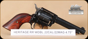 "Heritage - 22LR/22WMR - Roughrider - Cocobolo/Blued, 4.75"" - 6rd - Mfg# RR22MB4"