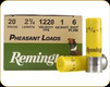 """Remington - 20 Ga 2.75"""" - 1oz - Shot 6 - Pheasant Loads - 25ct - 20060"""