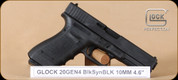 "Glock - G20 - 10mm - Gen4, BlkSyn, 4.6"", fixed sights, 3 mags, backstraps, restricted - Mfg# PG2050201"