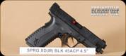 "Springfield - 45ACP - XDM - BlkSynBl, 4.5"", 2 magazines, interchangeable backstraps"