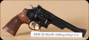 "S&W - 44Mag - Model 29 Classic Revolver - Altamont Walnut Grips/Blued, 6.5"" Barrel - Hard case and separate wooden presentation case - Mfg# 150145"