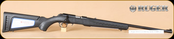 """Ruger - 17HMR - American Rimfire Standard Rifle - Black Synthetic Stock w/Interchangeable stock Modules/Blued, 22""""Barrel"""
