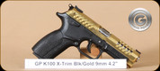 Grand Power - K100 X-Trim - 9mm - BlkSyn/Gold - With PVD Coating - 4 Interchangable Grips, 2 Mags, 4.3""