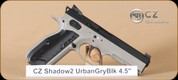 "CZ - 9mm - Shadow 2 Urban Grey - SA/DA Semi-Auto - Black Aluminum grips/Urban Grey Polycoat, 4.8""Barrel, Fiber Optic Front Sight, HAJO Rear sight, 3 magazines"