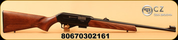 """CZ - 22WMR - Model 512 - Semi-Automatic - Beechwood Stock/Blued, 20.5""""Cold Hammer Forged Barrel, Integral 11mm Dovetail, 5rd Detachable Magazine, hooded front sight, Mfg# 02161"""