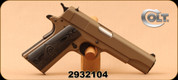 "Colt - 45ACP - 1991 A1 Government Model - Semi Automatic - Black Grips/Flat Dark Earth Finish, 5"" Barrel, Fixed Sight, Mfg# 01991T - Unfired, Showroom Model"