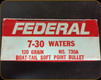 Federal - 7-30 Waters - 120 Gr - Boat Tail Soft Point - 20ct - 730A