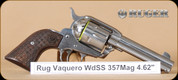 "Ruger - 357Mag - Vaquero - Short Spur, Star Engraved Hardwood Grips/High Gloss Stainless, 4.62""Barrel, Mfg# 05159"