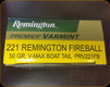 Remington - 221 Rem Fireball - 50 Gr - Premier Varmint - V-Max Boat Tail - 20ct
