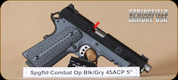 "Springfield - 45ACP - 1911 - Combat Operator, Lipsey's Exclusive, Blk/Grey, G10 Grips, 5"""