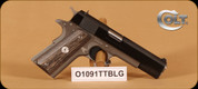 "Colt - 45ACP - 1991 - Government, Series 80, Blk Slide/SS Frame, 1 Magazine, 5"" bbl, Fixed White Three Dot Sights, Blk Lam Grips & Extra Blk Rubber Grips with Horse Logo"