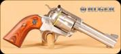 """Ruger - 44SPL - New Model Blackhawk Bisley - SA Revolver - Rosewood Grips/Stainless, 4.5""""Barrel, Adjustable Rear sight, Mfg# 05249"""
