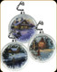 Hollow Glass Cabin Ornament - 3pck