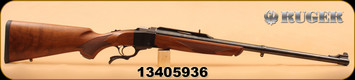 "Ruger - 405Win - 1H - Single-Shot 24"" Barrel Front/Rear Sights Walnut Stock Blued Barrel, small dent on forend."
