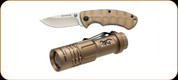 "Browning - Pro Hunter Folding Knife - 2.5"" Plain Edge Blade - Flashlight Combo - Tan"