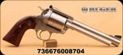 """Ruger - 480Ruger - New Model Super Blackhawk Bisley - Single Action Revolver - Bisley Hardwood Grips/Stainless, 6.5""""Barrel, 5 round cylinder, Mfg# 00870"""
