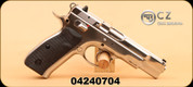 """CZ - 9mm Luger - 75B - Blk rubber grips/Stainless Glossy Finish, 4.6"""", fixed sights"""