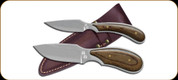 "Outdoor Edge - Dark Timber Combo fixed blades - Caper: 2 1/2"" blade 6 7/8 "" overall Skinner: 3 1/2"" 7 3/8""  overall"