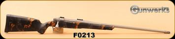 "Gunwerks - 6.5-284 Norma - ClymR - LR1000, Dark Orange/Titanium Cerakote 24"" Fluted, Radial Brake, Flush-Mount Bipod Rail, Gunwerks Recoil Pad, c/w G7 Weaver 2pc Scope Base"