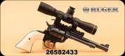 "Consign - Ruger - 17HMR - Single-Six - Poly grips/Blued, 6.5"", c/wLeupold FX-II Handgun 4x28mm, Duplex"