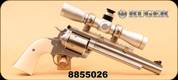 "Consign - Ruger - 44RemMag - Super Blackhawk Bisley Hunter - Poly Grips/SS, 7.5"", c/w Leupold FX-II Handgun 4x28mm, Silver 1"" Duplex - Original Ruger case & Leupold box"