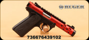 "Ruger - 22LR - Mark IV - 22/45 LITE - Black Synthetic/ Checkered 1911-Style Grips/Red Anodized, Threaded 4.4"" barrel"