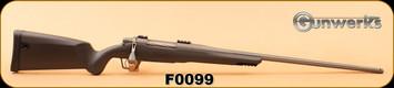 "Gunwerks - 7mmRemMag - ClymR - LR1000 - Carbon Fiber Finish/Tungsten Cerakote 24"" Fluted Barrel, Radial Brake, Flush-Mount Bipod Rail, Gunwerks Recoil Pad, c/w G7 Weaver 2pc Scope Base, s/n F0099"