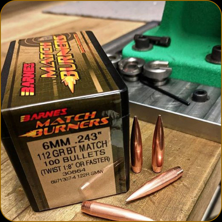 Barnes - 6mm - 112 Gr - Match Burner - Boat Tail - 100ct
