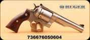 """Ruger - 357Mag/38Special - Redhawk - Hardwood Grips/Satin Stainless, 5.5"""", Single/double-action"""