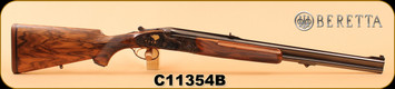 "Used - Beretta - 458WinMag - SS06 EELL - Express Double Rifle - Walnut/Color case-hardened receiver w/ 24-carat gold inlaid animals/Blued, 24"", c/w fitted leather case, custom-built tools, snap caps, spare rounds, mahogany cleaning rod, Dies - App"