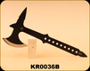 """Consign - Kit-Rae - Blackjet Throwing Axe - One piece black finish stainless construction, Skeletonized handle. 7 1/4"""" axe head with 4 5/8"""" sharpened edge, 14 3/8"""" overall, Opposite end is a sharpened spike, c/w Black nylon belt sheath"""