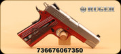 "Ruger - 45ACP - SR1911 Commander - Red Anodized Aluminum Frame/Stainless Slide, 4.25"" Barrel, Red G10 Grips, Drift Adjustable Novak 3 Dot Sights, MFG#06735 - 2 blemishes on inner edge of grips"
