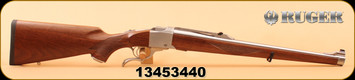 """Ruger - 6.5x55Swedish - No 1-K - RSI - Walnut Mannlicher Stock/Brushed Stainless, 20"""", Open Rifle Sights, S/N 13453440"""