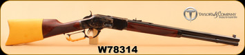 """Taylor's & Co  - 45LC - 1873 Comanchero - Lever Action Rifle -  Checkered Walnut Straight Stock/Color case hardened frame/Blued, 20"""" Octagonal Barrel, Elk hide stock cover, Buckskin lever wrap"""