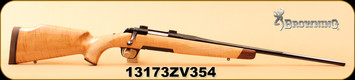 """Browning - 22-250Rem - Medallion Maple - High gloss AAA maple stock w/rosewood caps/engraved receiver/polished blued finish, 22"""" octagon barrel, 1-9"""", c/w 1"""" rings - Box has packing tape on it"""