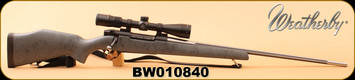 """Used - Weatherby - 300WbyMag - Mark V Accumark - Grey w/Spiderweb accents Composite/Stainless, fluted 26"""" Barrel, c/w Vortex Viper 3-9x40, Dead-Hold BDC Reticle, Talley 1"""" rings, synthetic sling"""