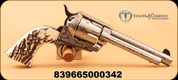"""Taylor's & Co - Pietta - 45LC - 1873 Cattle Brand - Single Action Revolver - Simulated Stag Horn Grip/Engraved Nickel Finish, 5.5"""" Barrel, 6 Rounds, Blade Front"""
