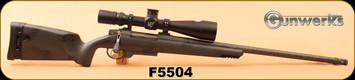 """Gunwerks - 28Nosler - Magnus - Long Range Package - Black Carbon Fibre/Carbon Wrapped, Sig Gray Cerakote 24"""" Barrel, Directional Brake, c/w Nightforce 5-25x56 ATACR F1 MOAR Zstop Digillum 34mm, S/N F5504"""