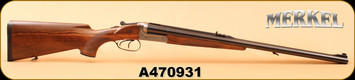 "Consign - Merkel - 470NE - 140AE Safari Arabesque - SxS Rifle - Turkish Walnut/Blued, 23.6""Barrel, Double Trigger"