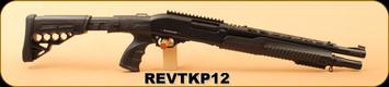 "Revolution Armory - 12Ga/3""/16"" - TKP12 - Matte Black, Removable Black Synthetic Folding Handle/Chrome lined, Matte Black Barrel, Fixed, Black Rubberized Pistol Grip, Mobile Choke"