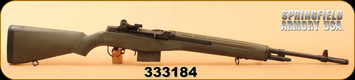 "Used - Springfield -  7.62 NATO - Loaded M1A - Semi Auto Rifle - OD Green Synthetic Stock/Carbon Steel, 22"" National Match Barrel, Parkerized, 10 Rounds, Adjustable Sights, Mfg# MP9229"