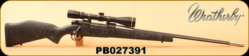 """Consign - Weatherby - 300WbyMag - Mark V Accumark - Black w/spiderweb accents Composite stock/Fluted stainless steel, 26""""Barrel, c/w Leupold VX-III 3.5-10x44, Duplex - In black hard case"""