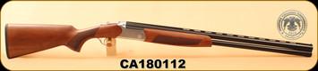 """Huglu - Hawk - 12Ga/3""""/28"""", Turkish Walnut/Blued Barrel/Silver Receiver, O/U, M.Choke, S/N CA180112"""