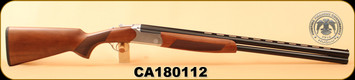"Huglu - 12Ga/3""/28"" - Hawk - Turkish Walnut/Blued Barrel/Silver Receiver, O/U, M.Choke, SKU# 8681715390635, S/N CA180112"