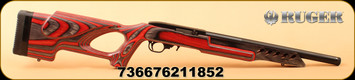 "Ruger - 22LR - 10/22 Target Lite - Semi-Auto - Red & Black Laminate Thumbhole Stock/Blued, 16.13""Threaded Barrel, Mfg# 21185"
