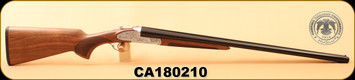 "Huglu - 12Ga/3""/28"" - 200AC - SxS - Turkish Walnut/Silver Receiver w/Hand Engraved Gold inlay/Blued Barrel, S/N CA180210"